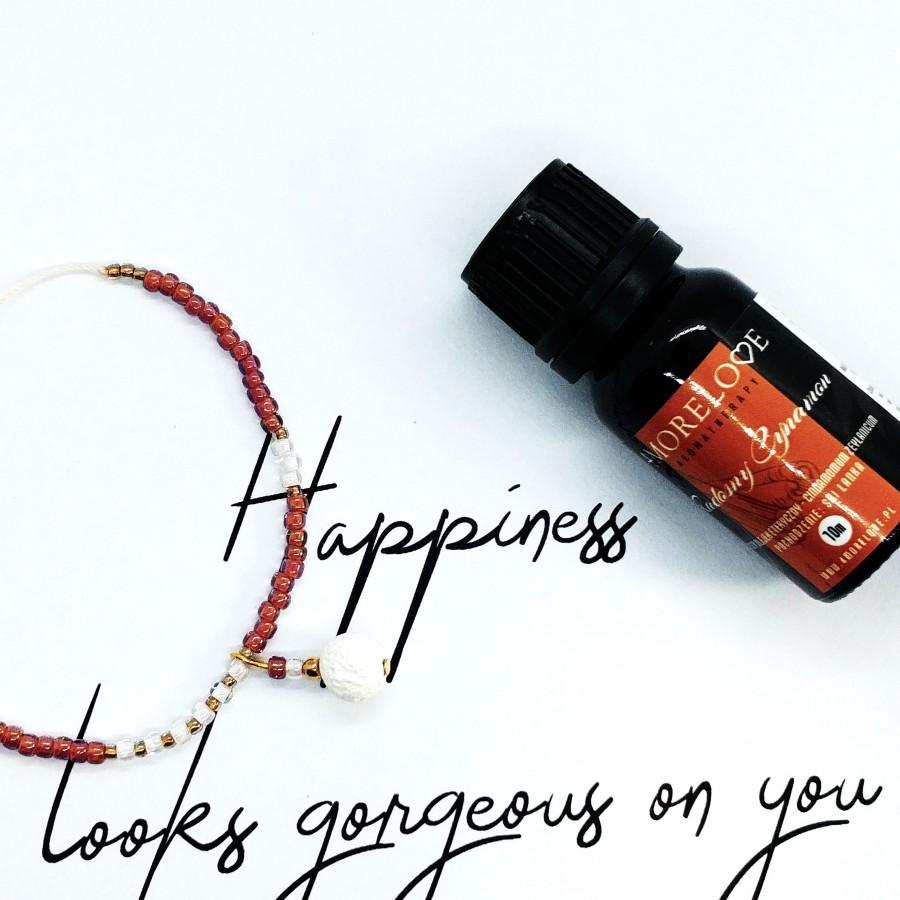 Bransoletka ręcznie robiona do aromaterapii 4morelove Happiness Looks Gorgeous On You